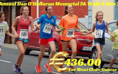 9th ANNUAL DAN O'HALLORAN MEMORIAL 5K WALK & RUN RAISES €436.00 FOR WEST CLARE CANCER CENTRE!!!!