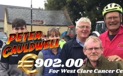 PETER CAULDWELL'S EPIC BIKE RIDE CHALLENGE RAISES €902.00 FOR WEST CLARE CANCER CENTRE KILKEE!!!!