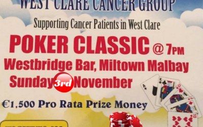 WEST CLARE CANCER GROUP 7th ANNUAL POKER CLASSIC TOURNAMENT IN AID OF THE WEST CLARE CANCER CENTRE – SUNDAY NOVEMBER 3rd 2019!!!!!!!